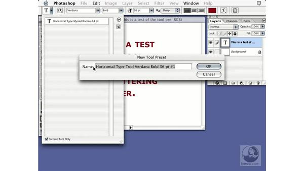 font tool: Learning Photoshop 7