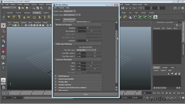 Touring the Maya Software renderer settings: Maya Essentials 6: Lights and Rendering