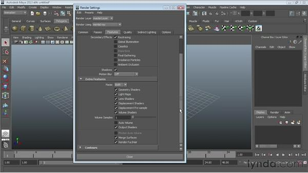 Looking at the mental ray renderer settings: Maya Essentials 6: Lights and Rendering