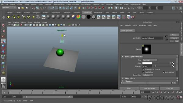 Exploring light types: Maya Essentials 6: Lights and Rendering