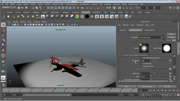 Adding depth map shadows: Maya Essentials 6: Lights and Rendering