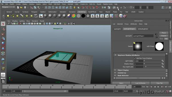 Using raytrace shadows: Maya Essentials 6: Lights and Rendering