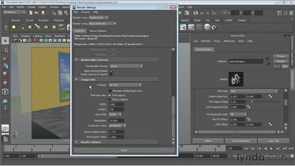 Creating gates and safe frames: Maya Essentials 6: Lights and Rendering