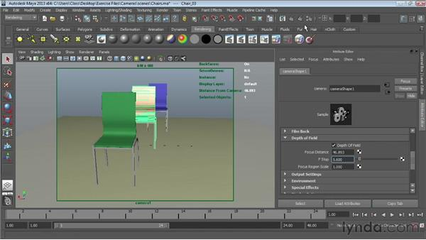 Adding depth of field: Maya Essentials 6: Lights and Rendering