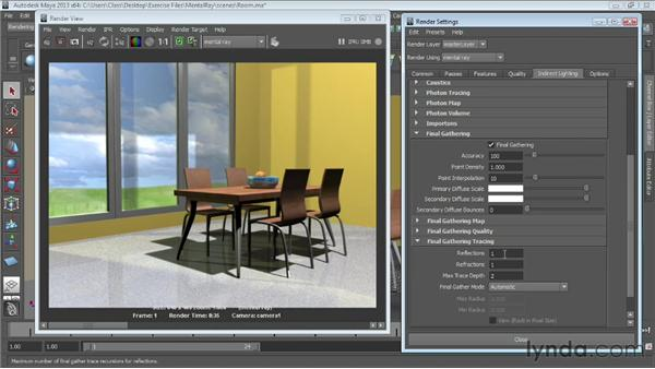 Using Final Gathering for natural lighting: Maya Essentials 6: Lights and Rendering