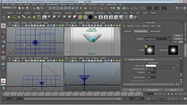 Rendering transparent materials with caustics: Maya Essentials 6: Lights and Rendering