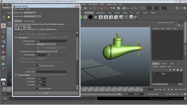 Batch rendering: Maya Essentials 6: Lights and Rendering