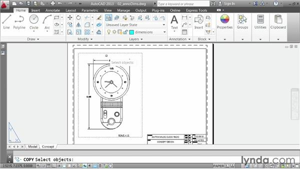 Using the Annotative property to size dimensions: AutoCAD 2013 Essentials: 06 Sharing Drawings with Others