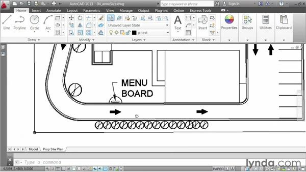 Changing the scale assigned to annotations: AutoCAD 2013 Essentials: 06 Sharing Drawings with Others