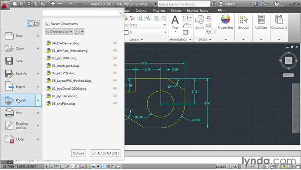 Sending drawings via email: AutoCAD 2013 Essentials: 06 Sharing Drawings with Others