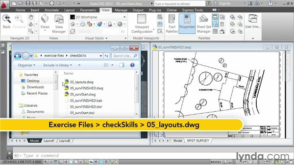 Challenge: creating a spot survey exhibit: AutoCAD 2013 Essentials: 06 Sharing Drawings with Others
