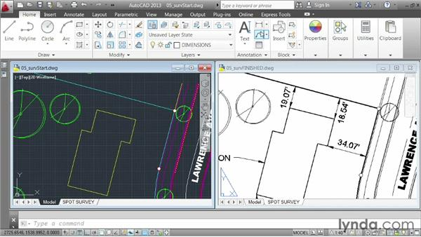 Demo: creating a spot survey exhibit: AutoCAD 2013 Essentials: 06 Sharing Drawings with Others