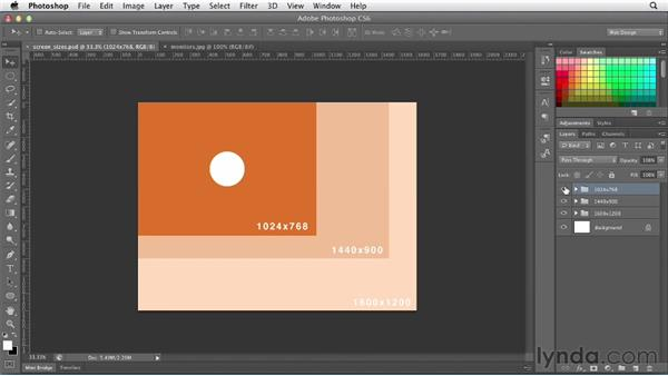Decoding screen size and resolution: Photoshop CS6 for Web Design (2012)