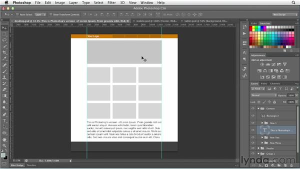 Setting up a responsive web layout: Photoshop CS6 for Web Design (2012)
