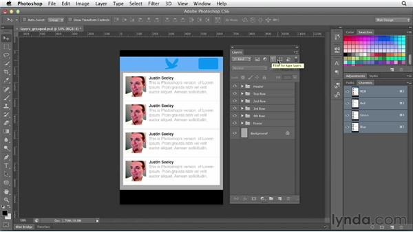Searching and filtering layers: Photoshop CS6 for Web Design (2012)