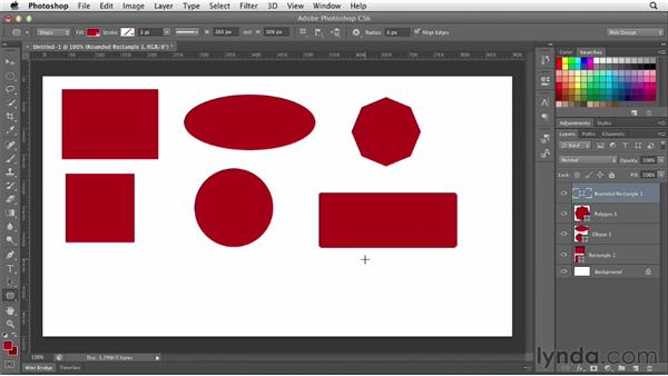 Creating vector shapes: Photoshop CS6 for Web Design (2012)