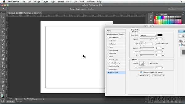 Creating and using drop shadows: Photoshop CS6 for Web Design (2012)