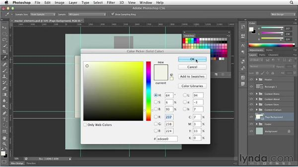 Adding master elements: Photoshop CS6 for Web Design (2012)