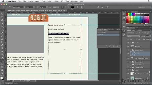 Working with text: Photoshop CS6 for Web Design (2012)