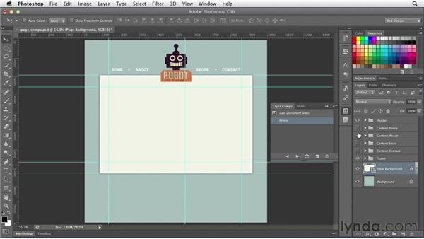 Simulating pages with layer comps: Photoshop CS6 for Web Design (2012)