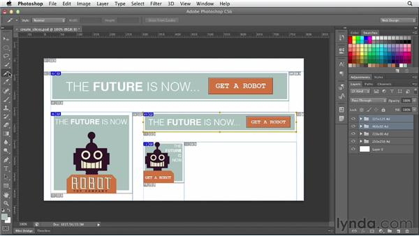 Slicing up a mockup: Photoshop CS6 for Web Design (2012)