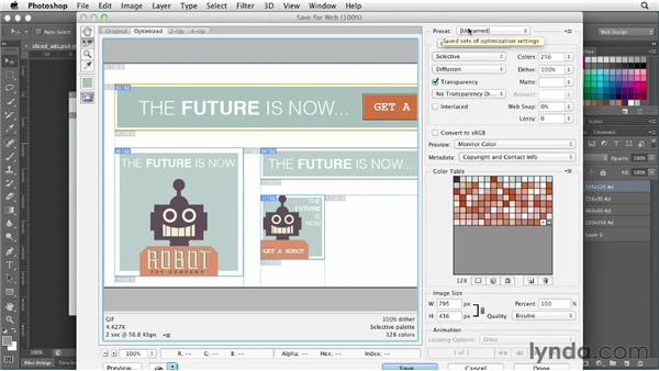 Exploring the Save for Web dialog: Photoshop CS6 for Web Design (2012)