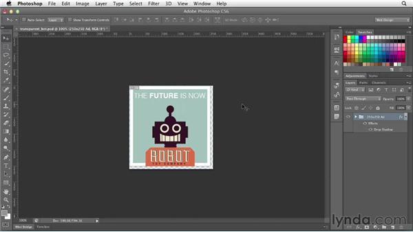 Optimizing transparent graphics: Photoshop CS6 for Web Design (2012)
