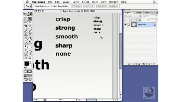 type options: Learning Photoshop 7