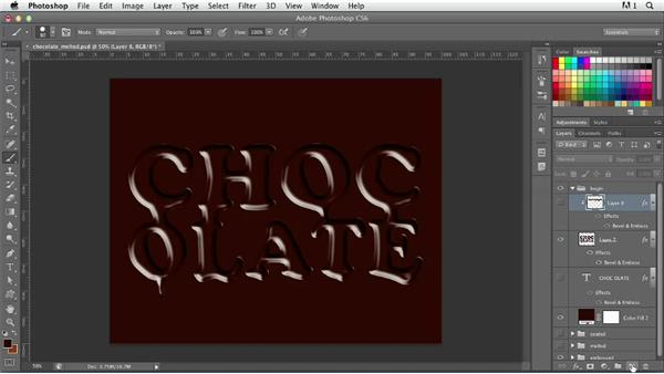 Creating chocolate text: Photoshop for Designers: Type Effects