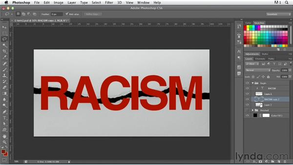 Creating torn type: Photoshop for Designers: Type Effects