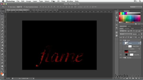 Creating fiery type: Photoshop for Designers: Type Effects
