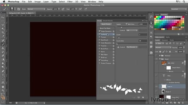 Creating scattered leaves type: Photoshop for Designers: Type Effects