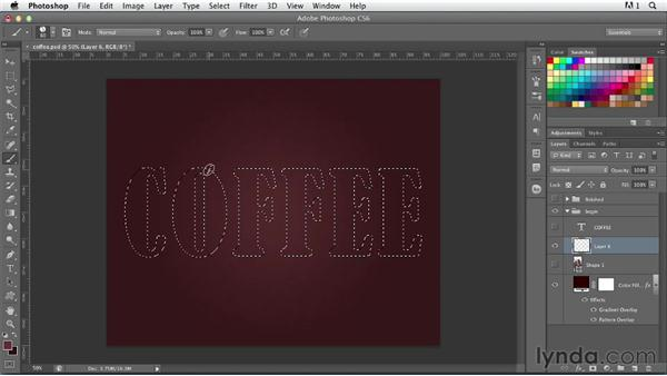 Creating coffee bean type: Photoshop for Designers: Type Effects