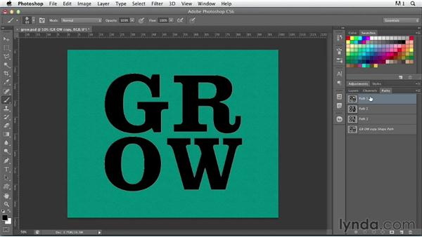 Stroking a type path: Photoshop for Designers: Type Effects