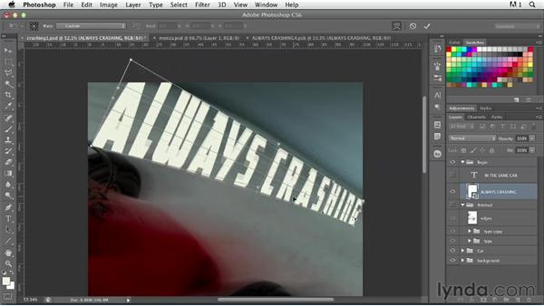 Warping text for dramatic perspective: Photoshop for Designers: Type Effects