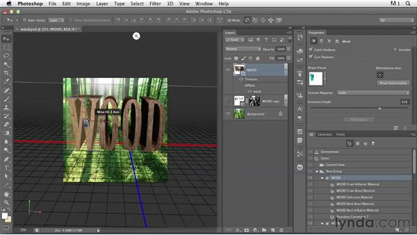 Using a Vanishing Point grid with 3D type: Photoshop for Designers: Type Effects