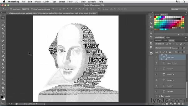 Creating a type portrait with multiple layers: Photoshop for Designers: Type Effects