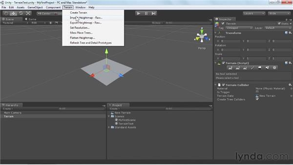Setting up the terrain geometry: Unity 3D 3.5 Essential Training