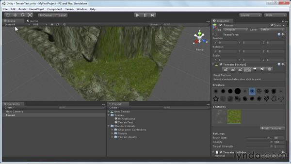 Painting the terrain textures: Unity 3D 3.5 Essential Training