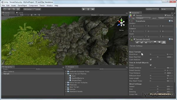 Adjusting terrain settings: Unity 3D 3.5 Essential Training