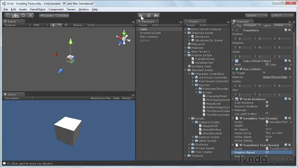 Scripting basic functions: Unity 3D 3.5 Essential Training