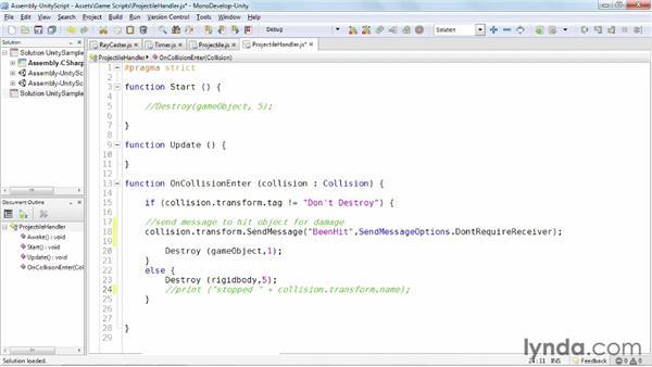 Sending messages: Unity 3D 3.5 Essential Training