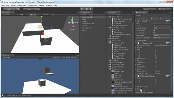 Working with physics components: Unity 3D 3.5 Essential Training