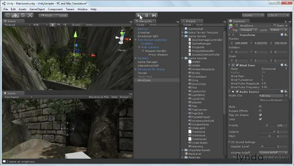 Adding audio effects: Unity 3D 3.5 Essential Training