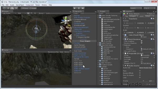 Adding a flashlight: Unity 3D 3.5 Essential Training