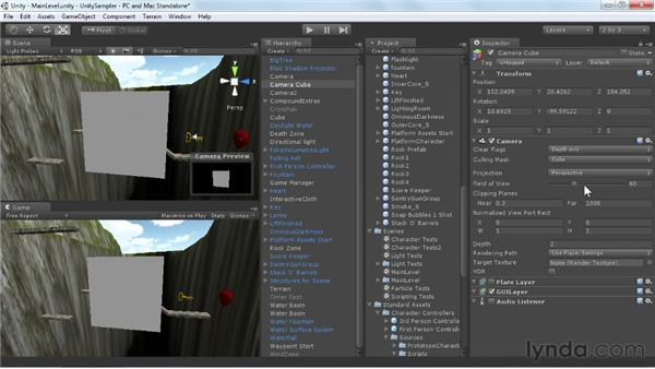Working with cameras and layers: Unity 3D 3.5 Essential Training