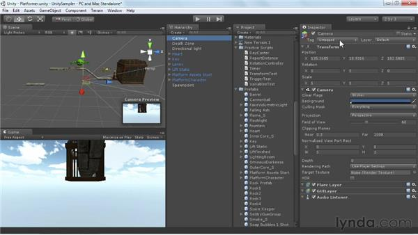 Activating the platformer scene: Unity 3D 3.5 Essential Training