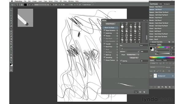 Drawing with pencils: Photoshop CS6 New Features: Brushes