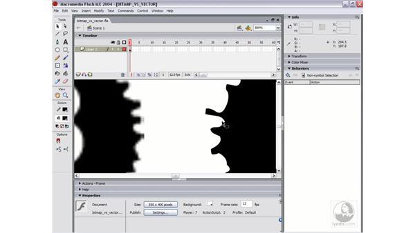 bitmaps vs. vectors: Flash MX 2004 Essential Training