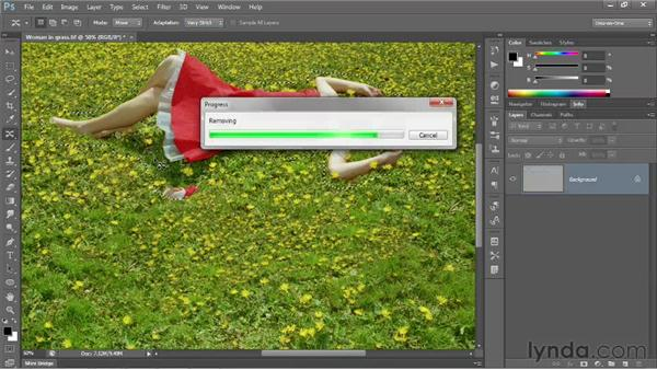 Using the Content-Aware Move tool: Photoshop CS6 One-on-One: Intermediate